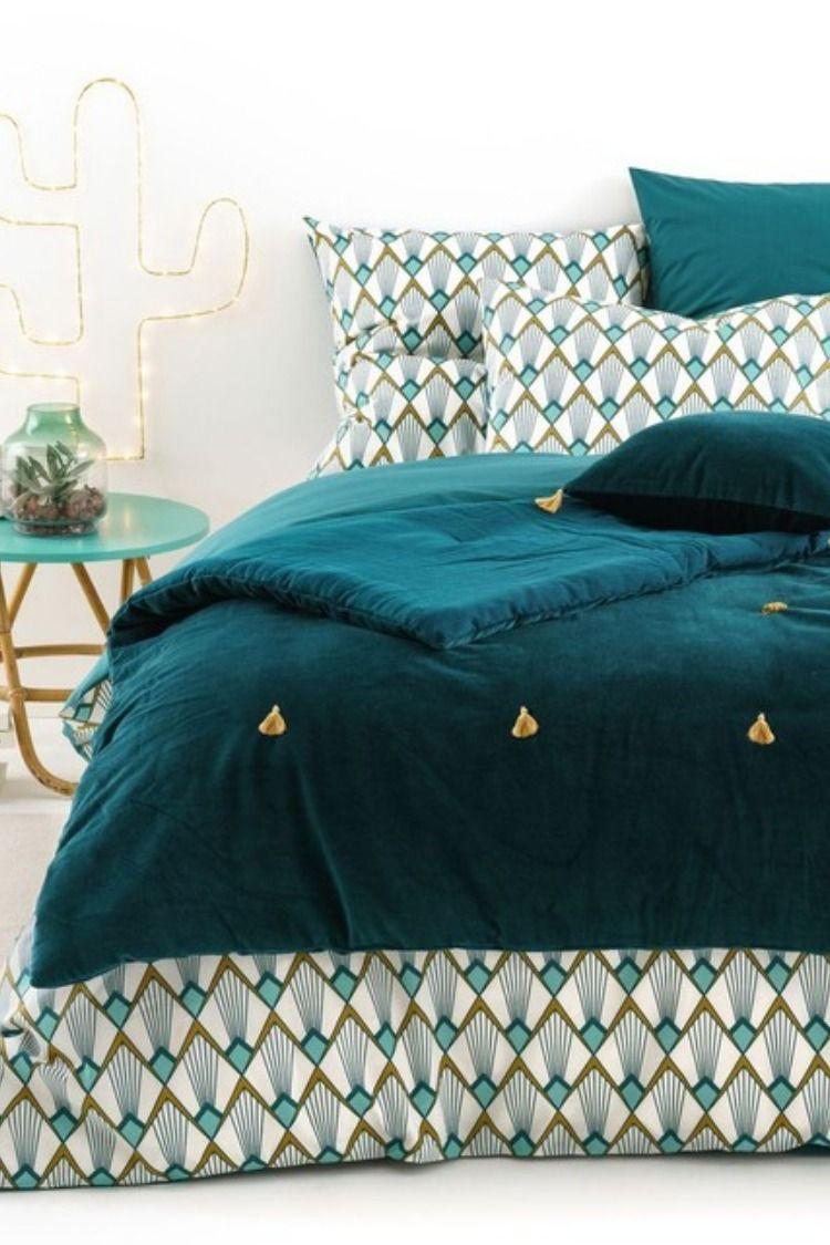 dredon en velours paula bleu canard vert pompon dor e la redoute or chambre adulte housse de. Black Bedroom Furniture Sets. Home Design Ideas