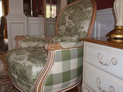 Decorating With Green And White Toile