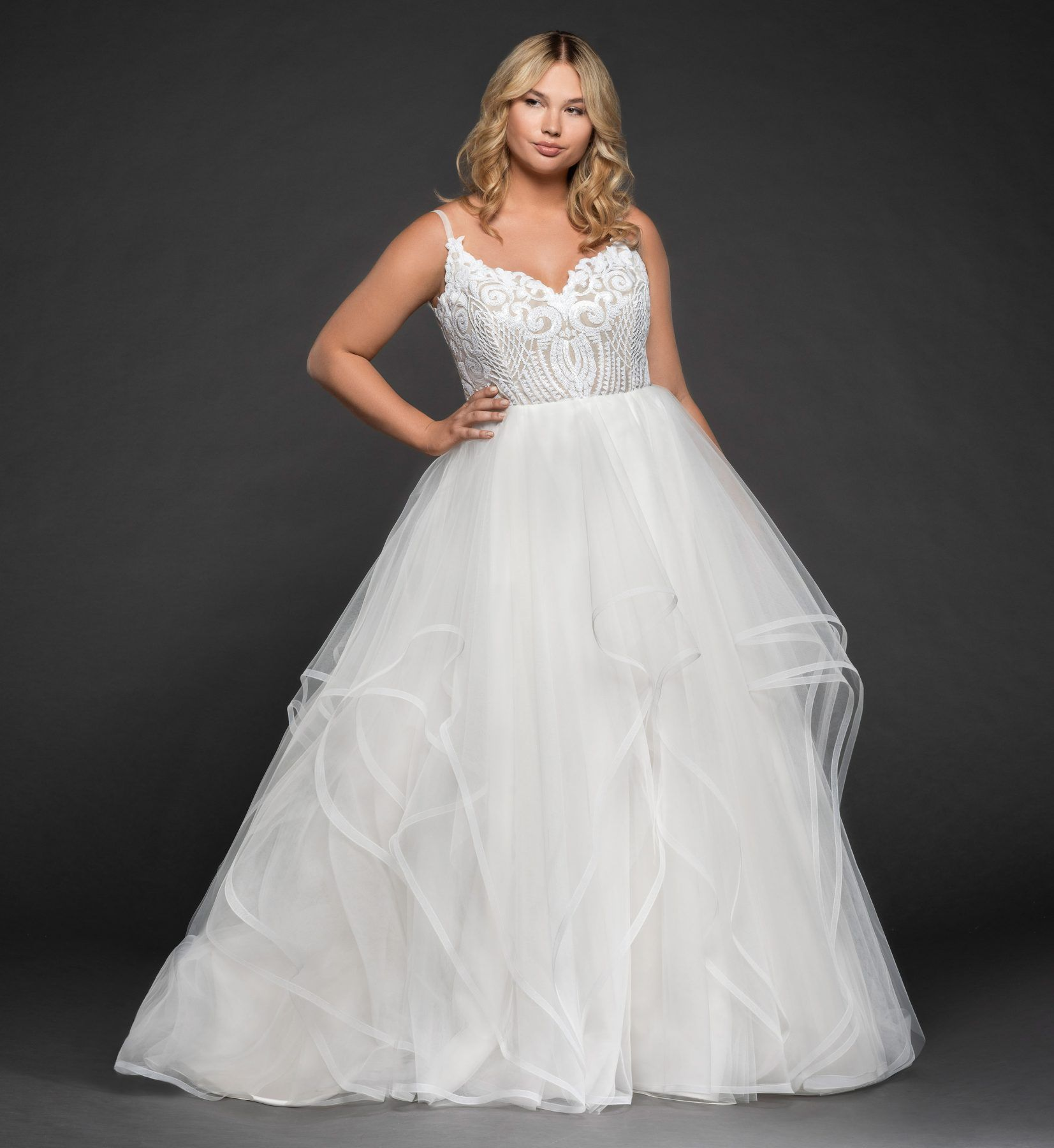 Beaded bodice tulle skirt ball gown plus size wedding
