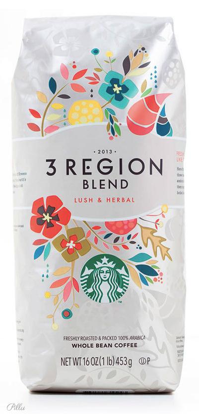 Starbucks /3 Region Whole Bean Coffee. packaging coffee