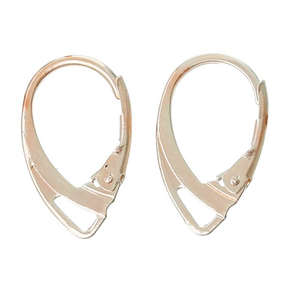 18x11mm 20 pcs 10 pairs Rose Gold Plated Leverback Earrings Clips