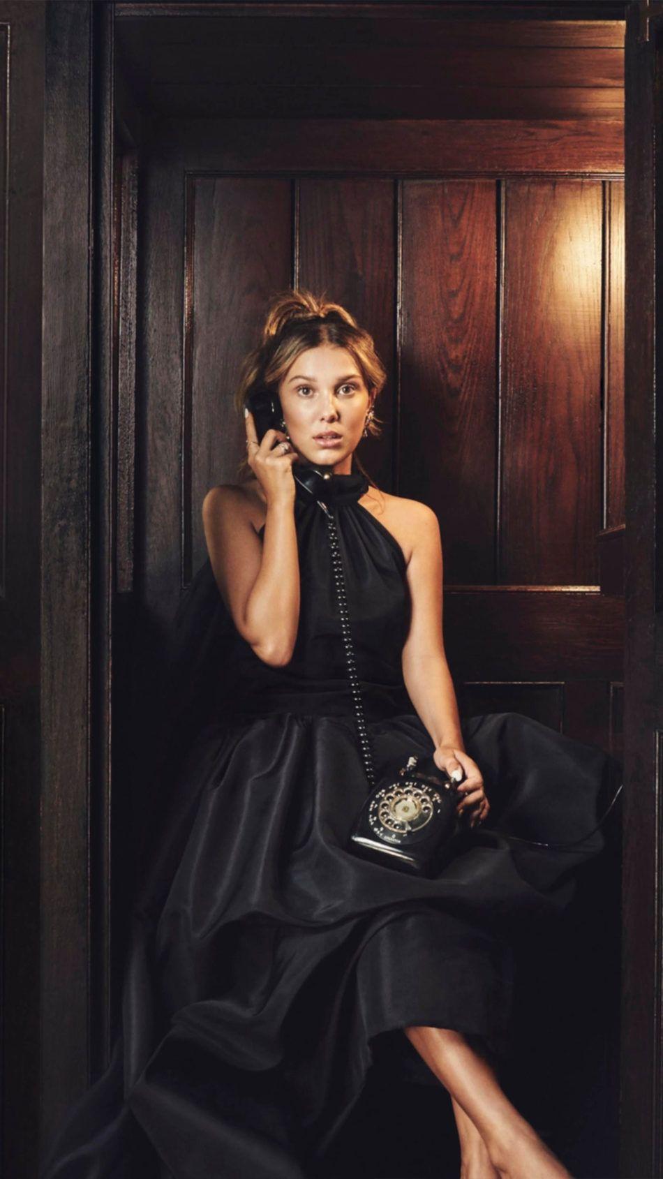 Millie Bobby Brown Black Dress Telephone 4k Ultra Hd Mobile Wallpaper In 2020 Bobby Brown Millie Bobby Brown Black Dress