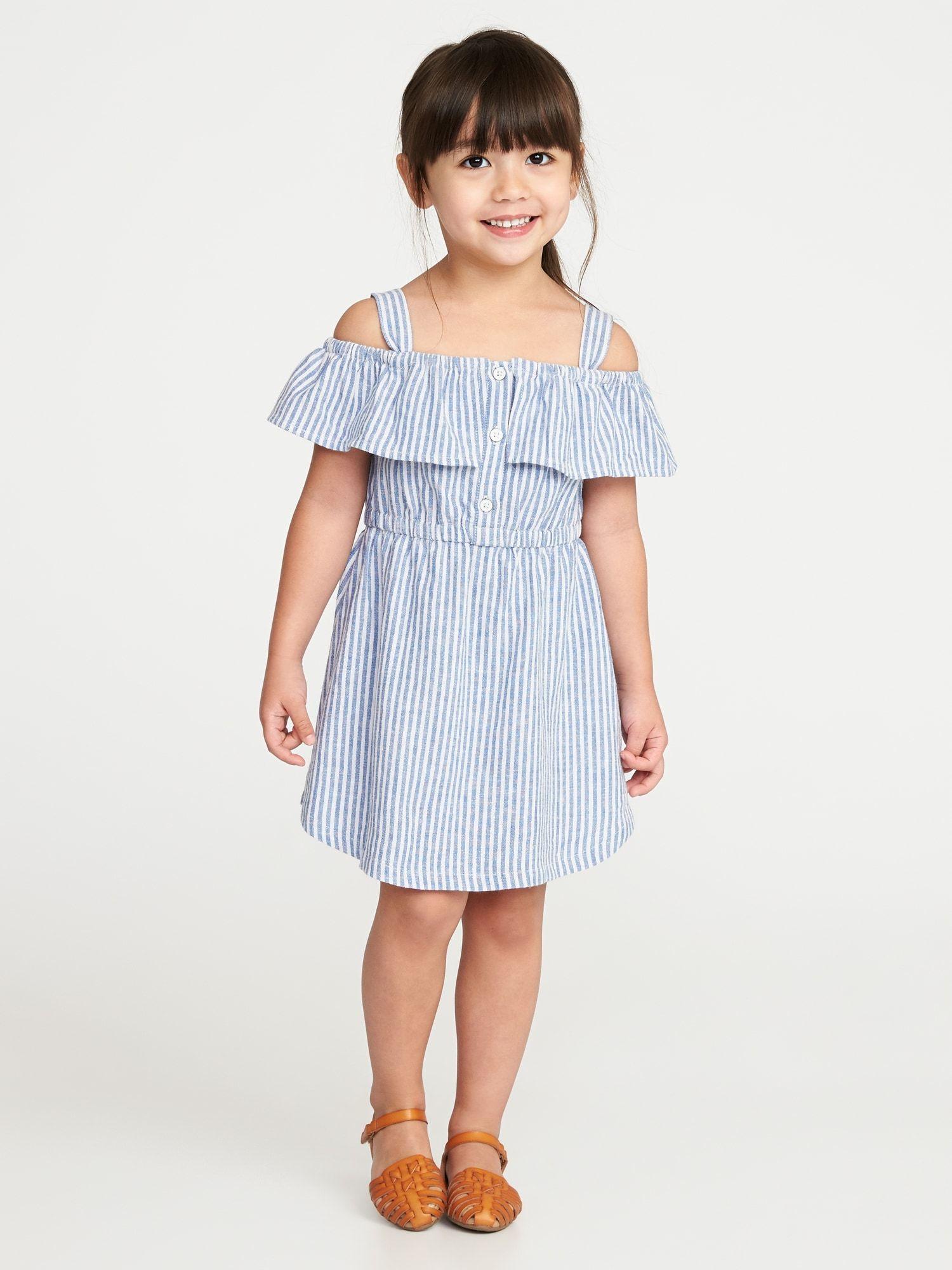 e76420d21431 Striped Linen-Blend Off-the-Shoulder Dress for Toddler Girls