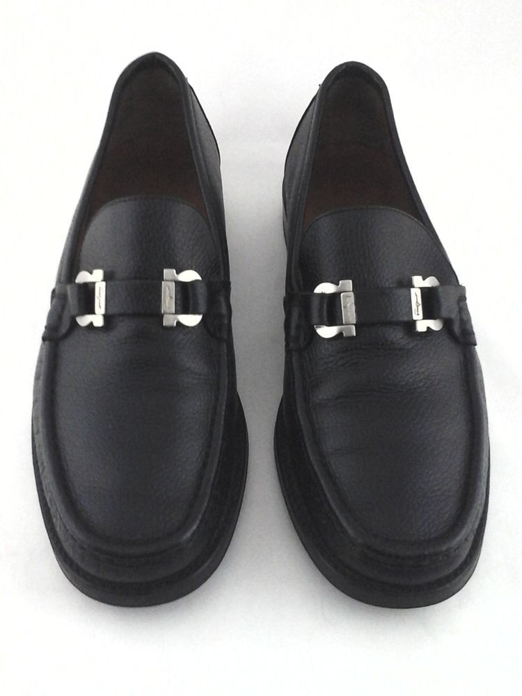 5d9dbbc118f eBay  Sponsored SALVATORE FERRAGAMO Loafers Gancio Horse Bit Black Mens US  7.5 EE EU 41.5  660
