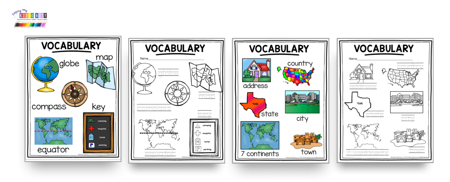 All About Planet Earth Free Activities Keeping My Kiddo Busy Geography For Kids Kindergarten Activities Thematic Teaching [ 606 x 1500 Pixel ]