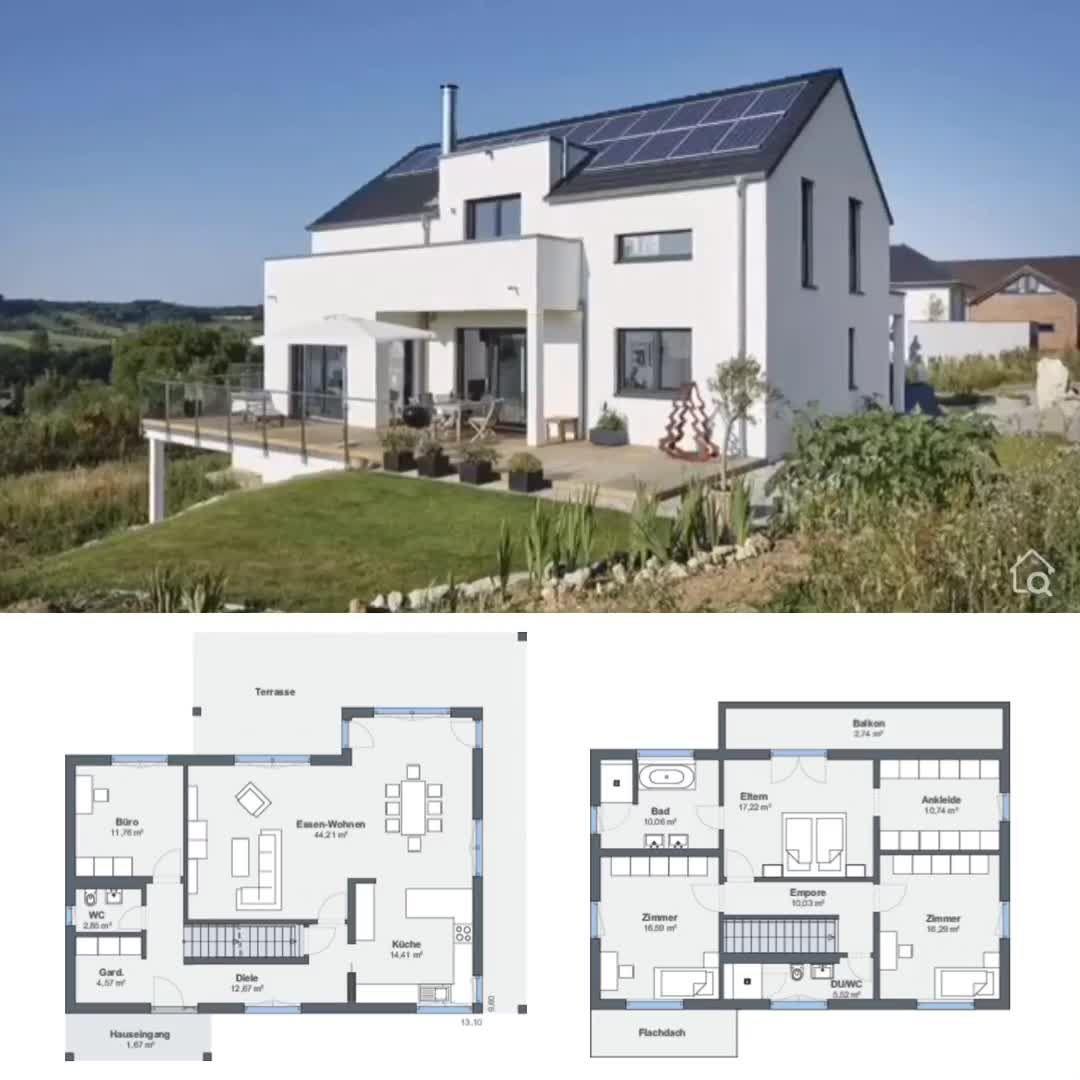 Photo of Modernes Haus mit Einliegerwohnung in Hanglage bauen, Einfamilienhaus Grundriss modern mit Garage