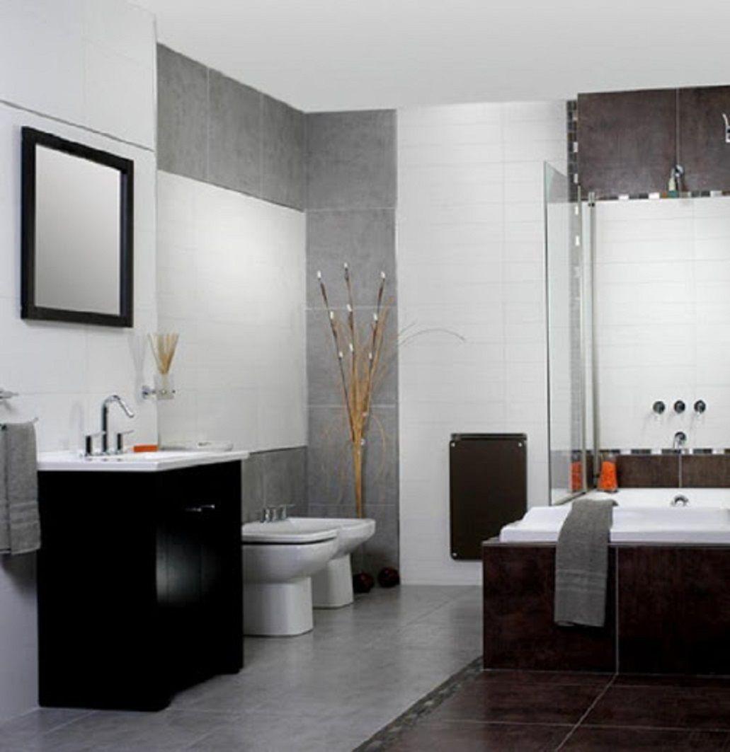 Moderno ba o blanco negro y gris ba o moderno pinterest for Banos blancos modernos