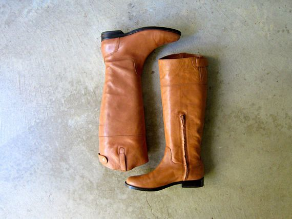 81f3f261d47db Tall Brown Leather Boots 90s Ralph Lauren Boots Vintage Equestrian ...