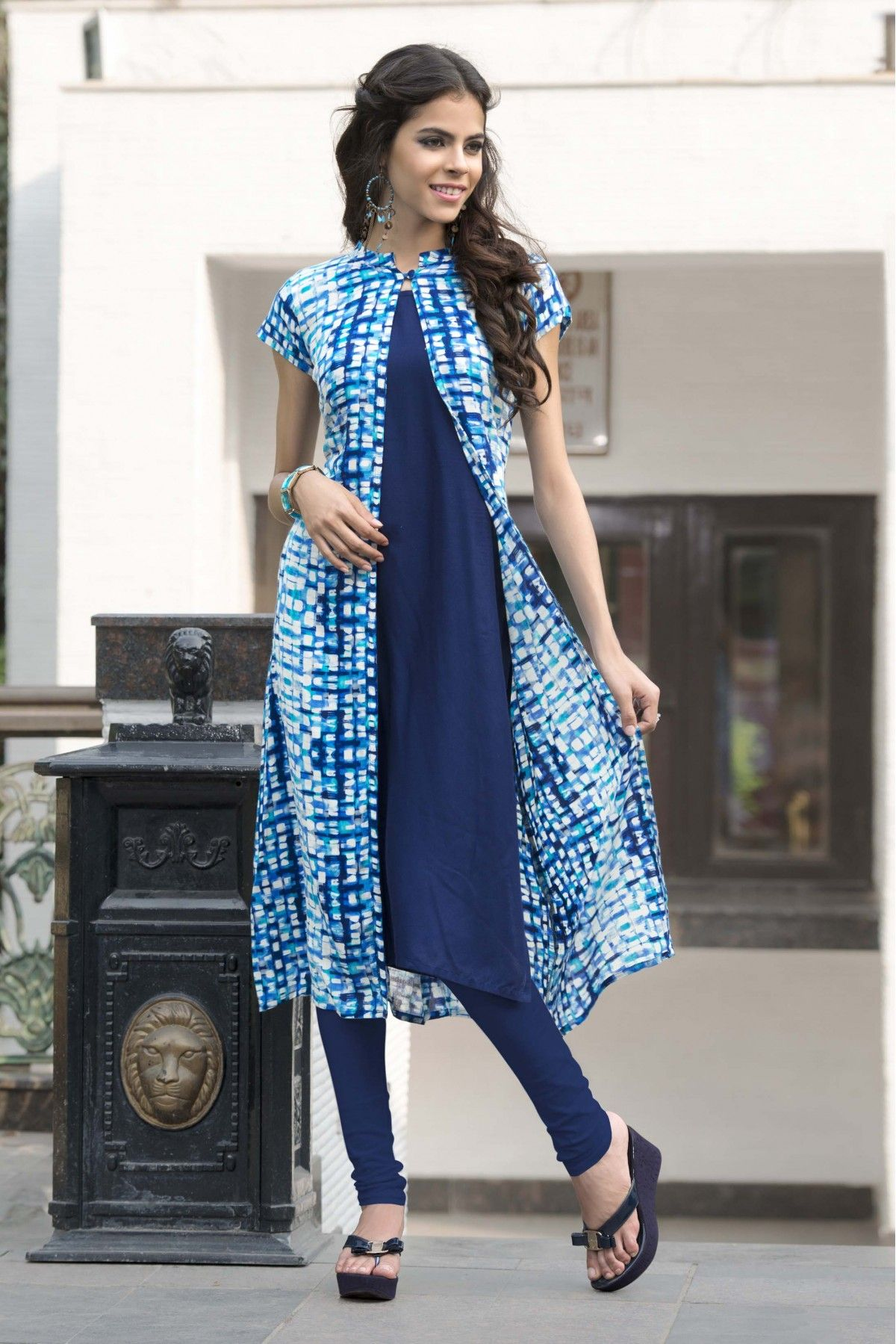 Rayon And Cotton Party Wear Kurti In Blue Colour
