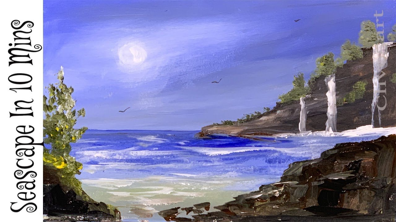 Painting A Summer Beach Landscape With Acrylics In 10 Minutes Or So Youtube Landscape Painting Lesson Landscape Painting Tutorial Beach Landscape