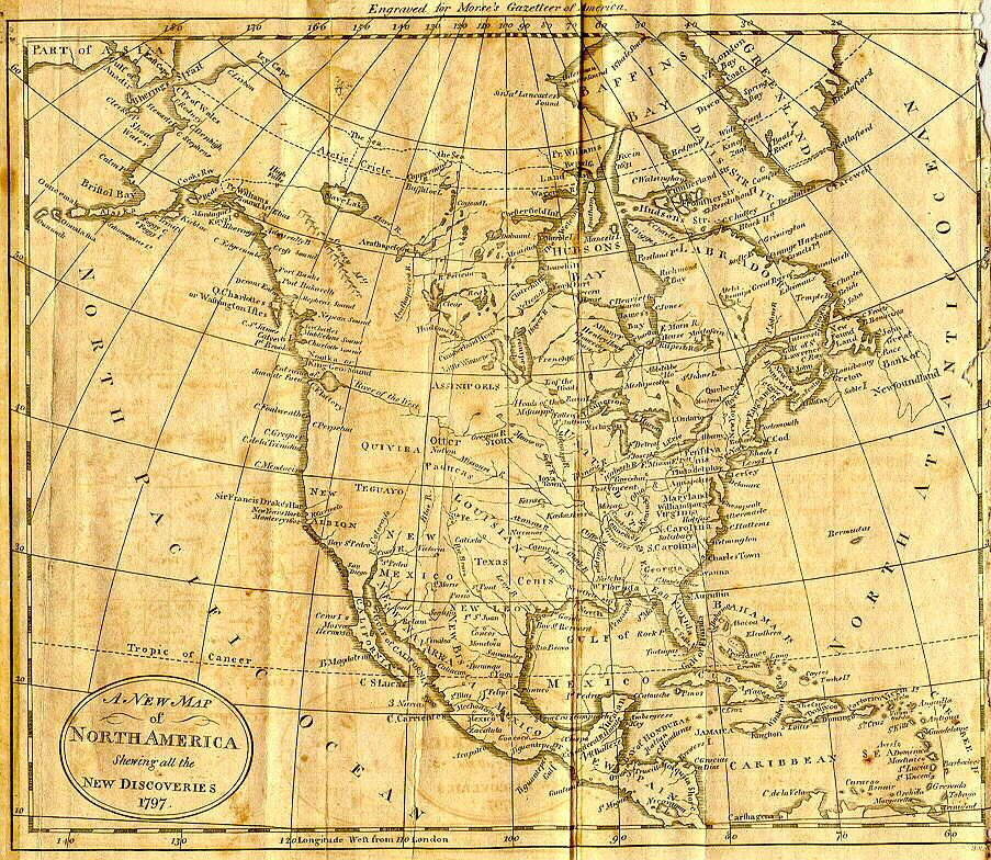 A New Map Of North America From The American Gazetteer Published