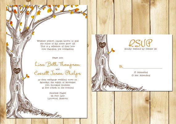 Fall Tree Wedding Invitation With Carved Initials I Love
