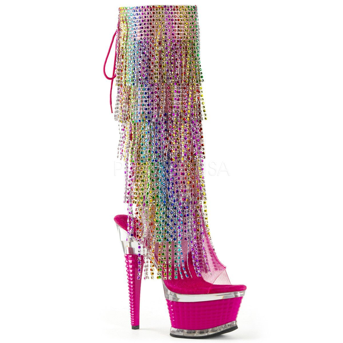 b3a7bbad0b08 Totally Wicked Footwear - Pleaser Illusion 2017 RSF Rainbow Fringe Platform  Knee Boot