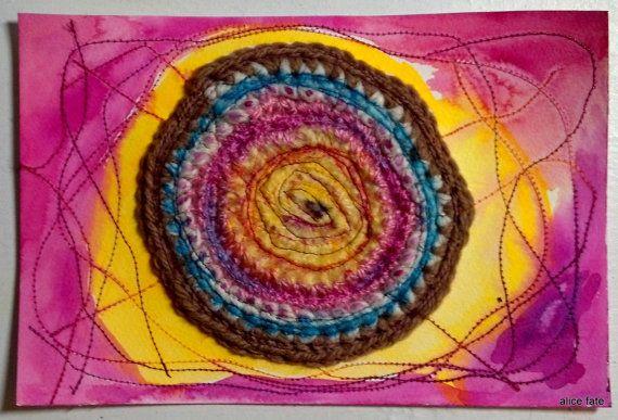 Mandala 25. I Guess We're All Just Crazy. Crochet Watercolor and Thread Art Mandala//Mixed Media Art//The Mandala Project by AliceFate www.alicefate.com/mandala-project