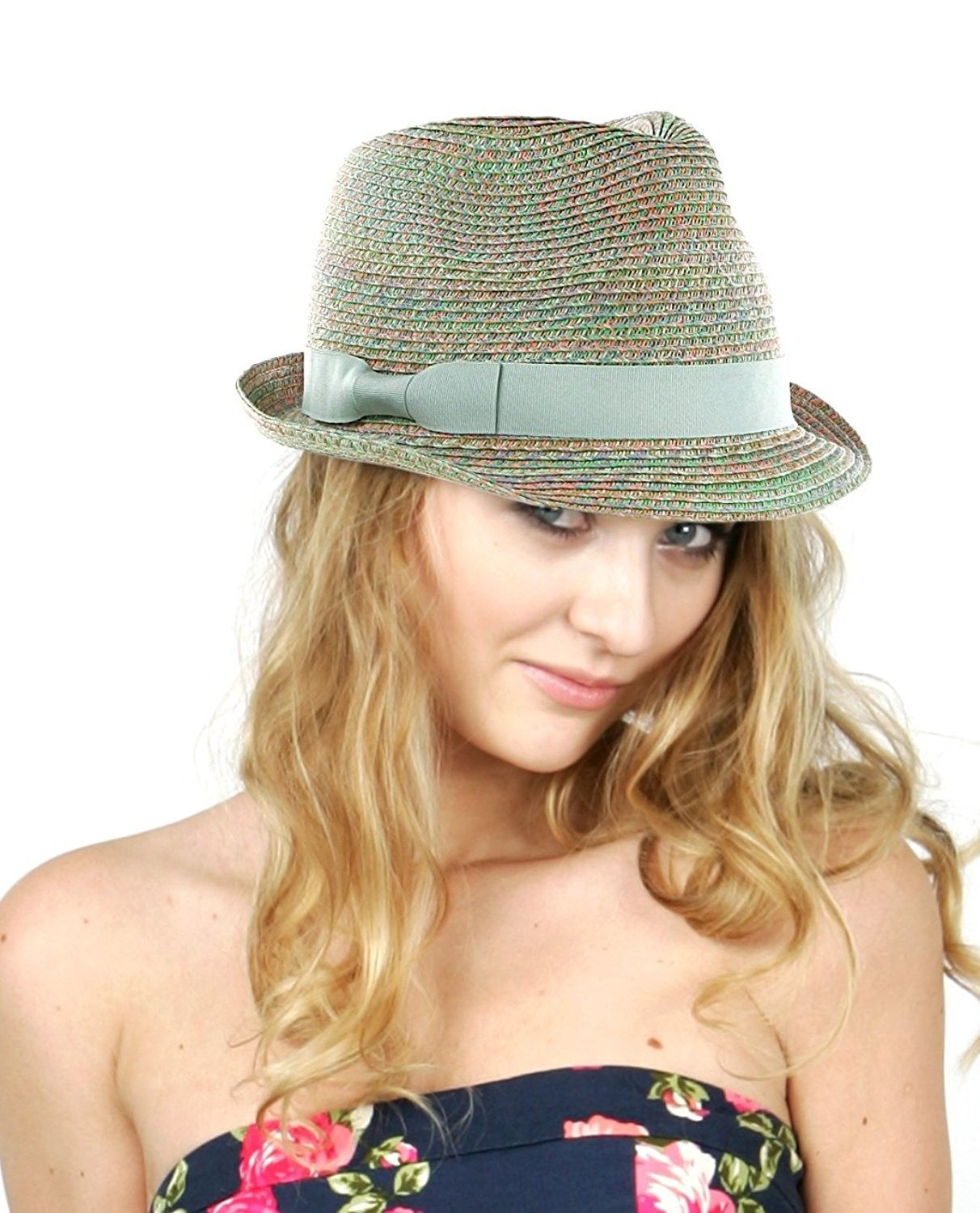 Women s Solid Color Band Multicolor Weaved Trilby Fedora Hat - CN11WWYH633  - Hats   Caps a2aa021f4fbc