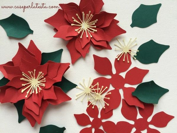 Tovaglioli A Forma Di Stella Di Natale.Corona Di Stelle Di Natale In Carta Paper Poinsettia Wreath
