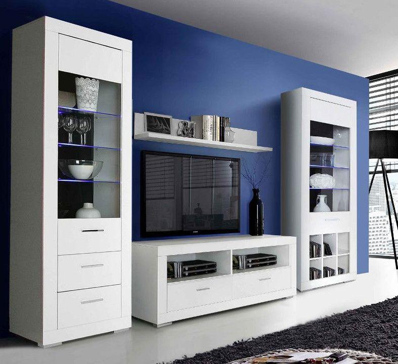 Wohnwand Weiss Matt Woody 77-00503 Glas modern Jetzt bestellen - wohnzimmer wohnwand weiß