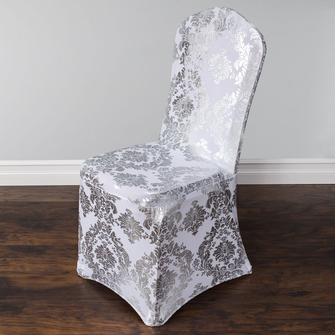 Silver Metallic Damask Stretch Banquet Chair Cover
