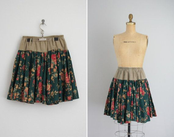 vintage 1980s skirt  80s full skirt  Forest by FigMintVintage, $32.00