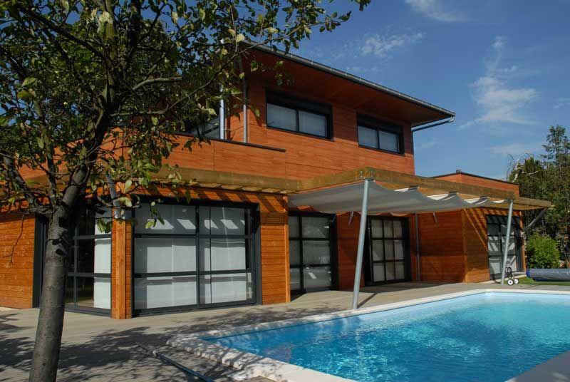 maison-bois-vue-face-pmp Maison en bois Pinterest Pergolas - qu est ce qu une maison bioclimatique