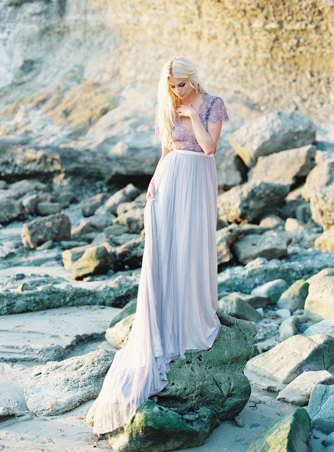 Ethereal Seaside Wedding Inspiration with a Lavender Wedding Dress