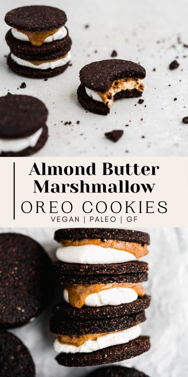 Vegan Almond Butter Marshmallow Oreo Cookies (Pale