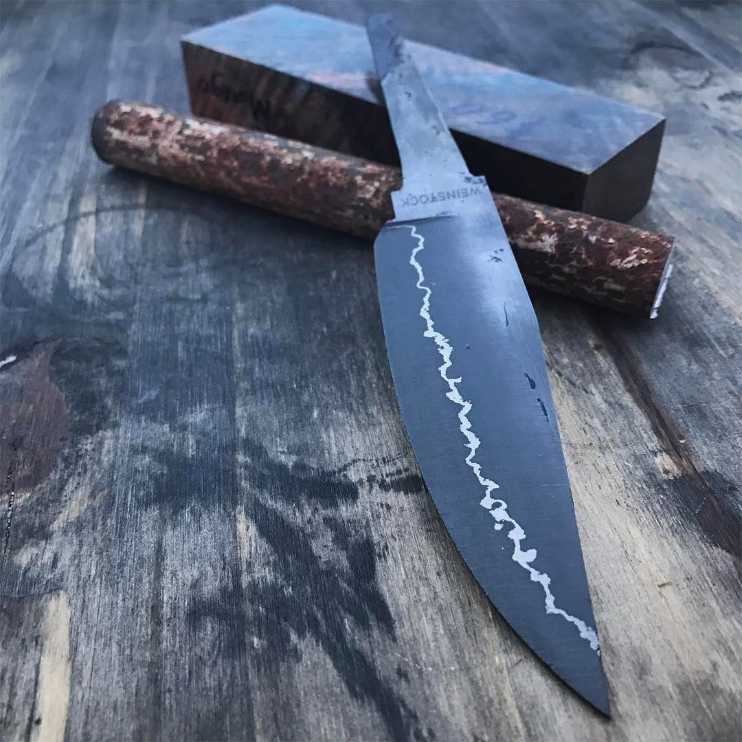 Rough ground San Mai hunter with a quick etch.  Thinking this sweet block of Pete's dyed mango and a wrought iron guard will look pretty nice.   #knife   #knives   #handmade   #hunting   #camping   #outdoors   #edc   #forged   #forged   #leather   #leathercraft   #blade   #bushcraft   #survival   #tactical   #knifepics   #knifemaker   #chicago