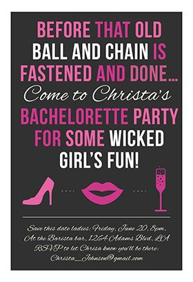 Wicked Girls Fun Printable Invitation Customize Add Text And - Party invitation template: bachelorette party invitations free template