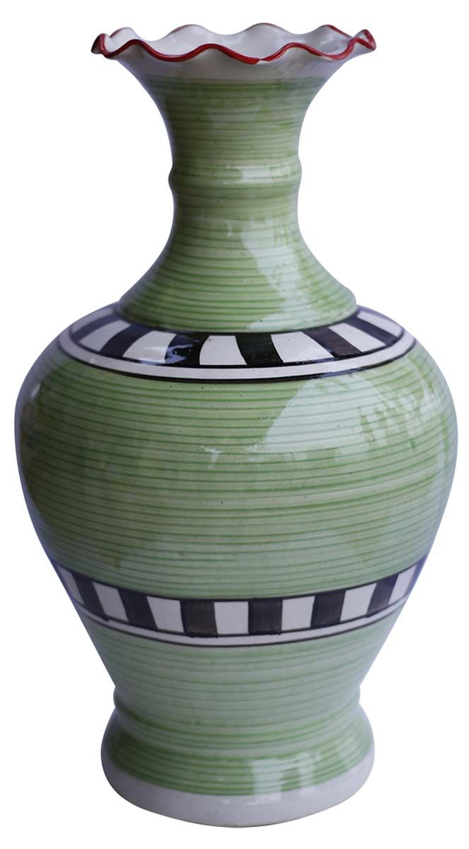 Bulk Wholesale Stripes Checks Ceramic Vase Hand Painted Green