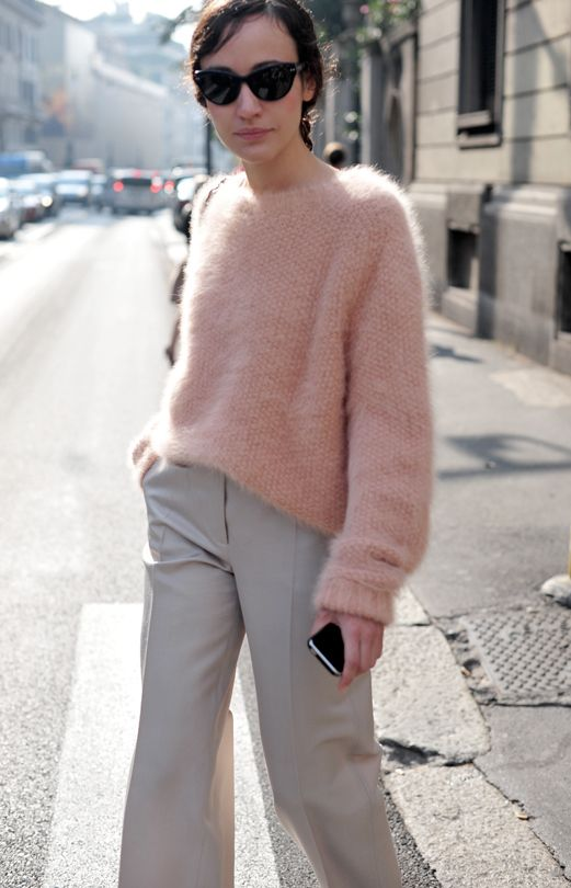 2ec3c465005 pale pink slouchy wool pullover + pale grey classy pants