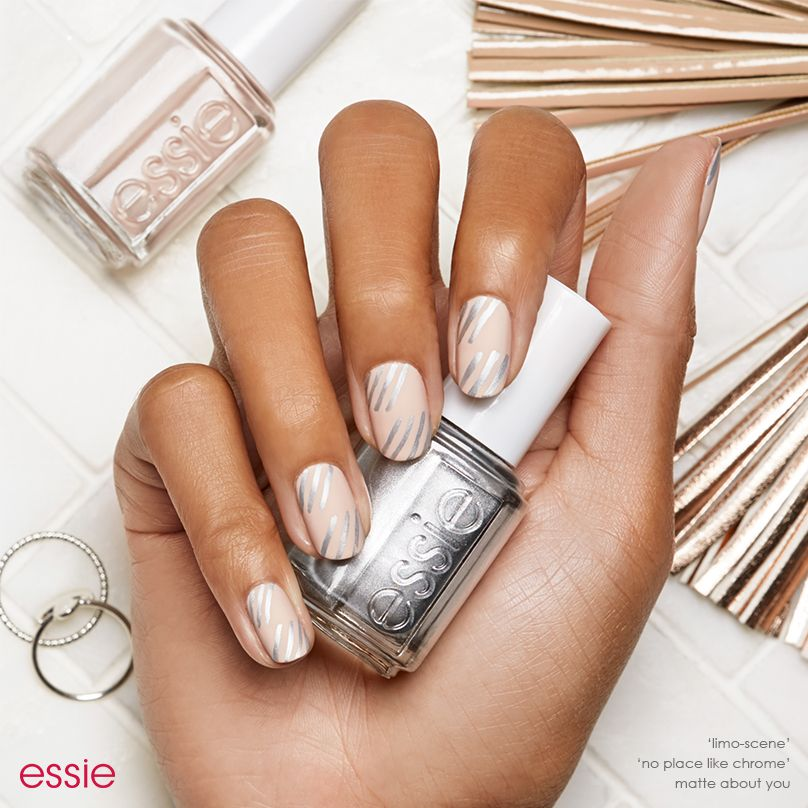 Get graphic in this nude essie nail art design. Simple silver ...