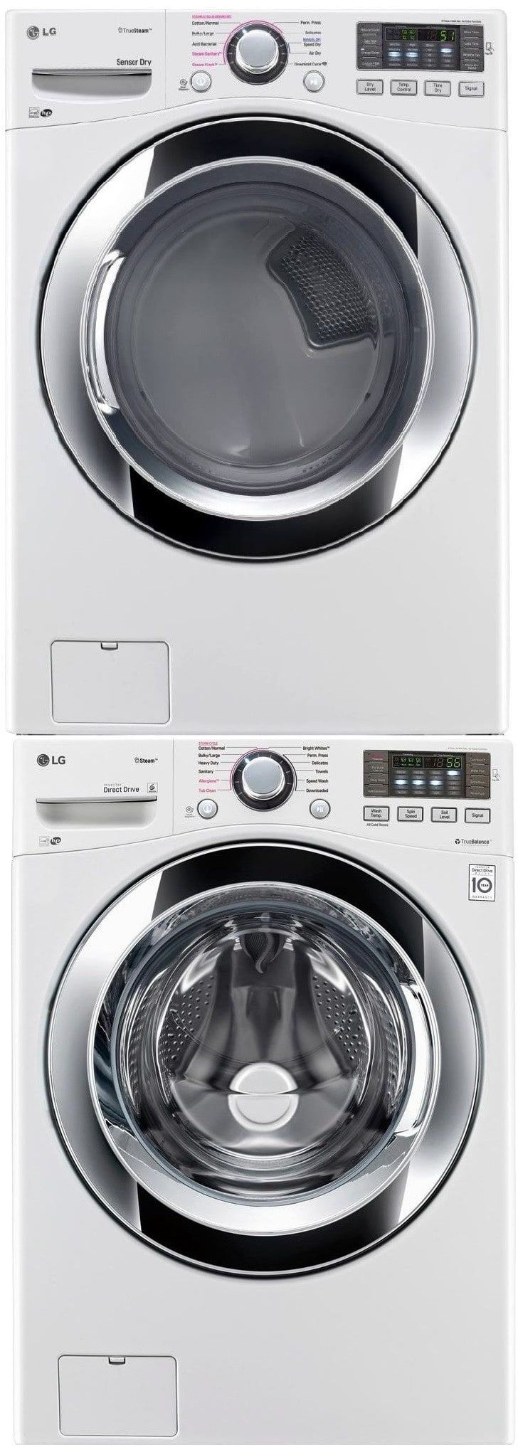 Lg lgwadrew stacked washer u dryer set with front load washer and