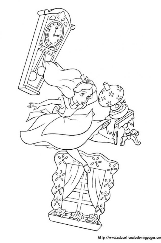 Alice In Wonderland Coloring Pages Free For Kids Paginas Para