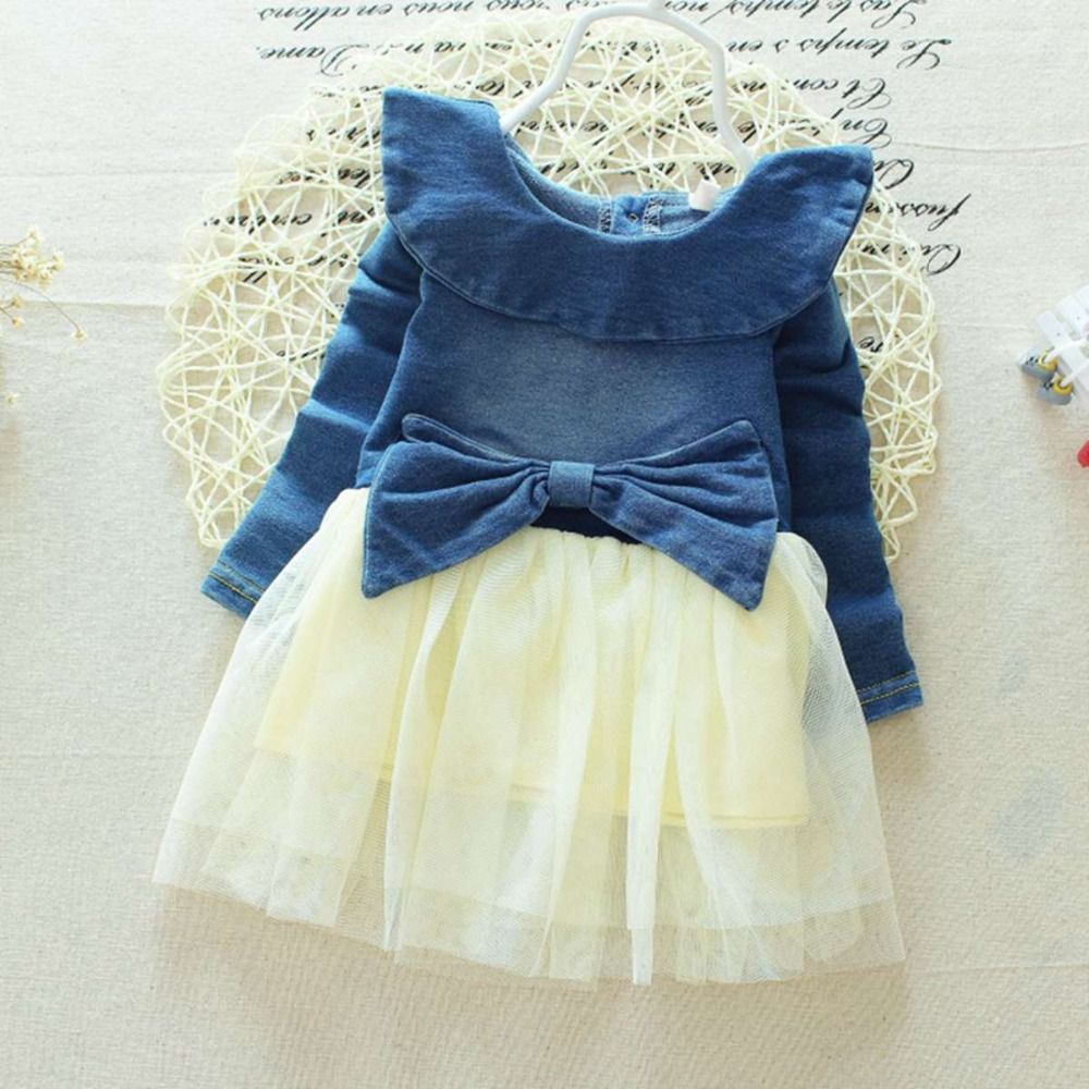 Click to buy ucuc spring baby girls infants denim jeans mesh patchwork