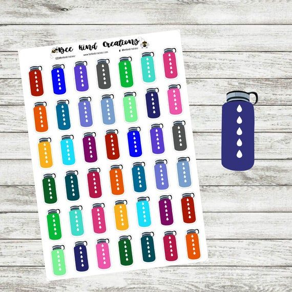 Water Bottle Water Tracker Planner Stickers | Happy Planner | Visual Journaling | Erin Condren | Bullet Journal | Sticker Sheet | Hobonichi