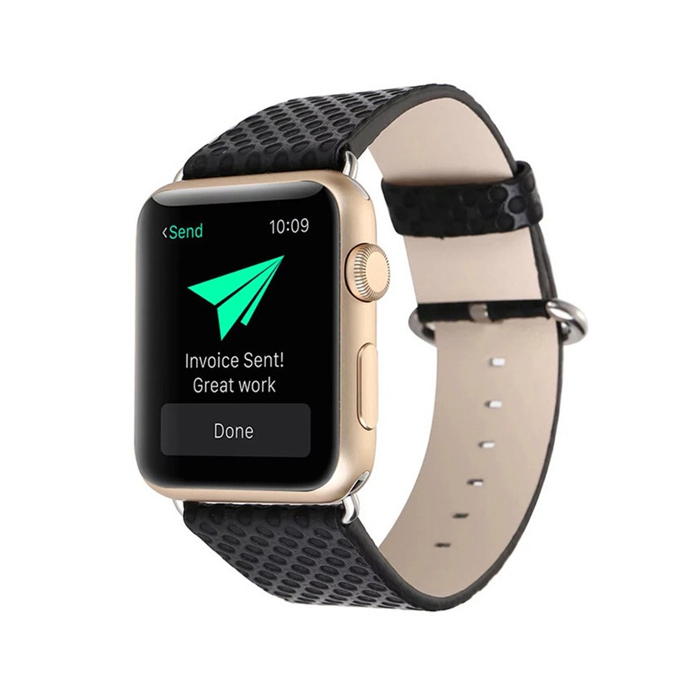 8683ce34c7c60 iPM Faux Snake Skin Replacement Band for Apple Watch 42mm - Black, Adult  Unisex