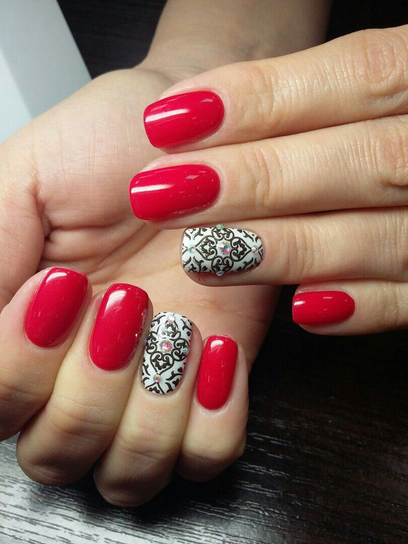 Nail Art Designs, Red Acrylic