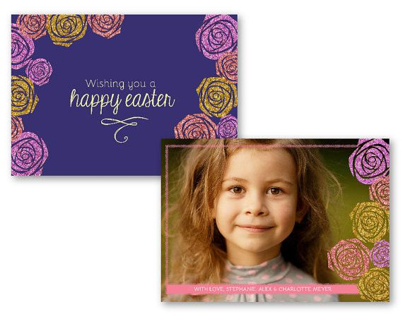 Easter Greeting Card  Rose Sparkle From Lucky Star Templates