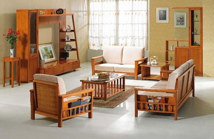 Wooden sofa and furniture set designs for small living for Drawing room furniture design ideas