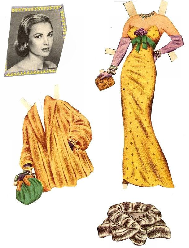Grace Kelly paper doll outfits! Movie Star becomes Princess of Monaco(¯`'•.ೋ