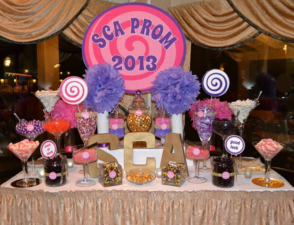 purple and pink prom candy buffet table