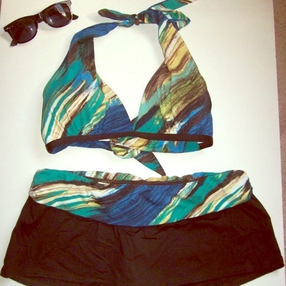 Multi-Color 2-piece Bathing Suit Chocolate Brown & greens/blue 2-piece bathing suit. Triangular bikini top that ties around the neck and the back. Adorable bottoms are chocolate brown skirt with multicolor waist over bloomers. Sits low on waist. Top has light padding. Very good condition.   Size 10  #bikini #summer #bathingsuit #brown  #multicolor   ***sunglasses not included*** La Blanca Swim Bikinis
