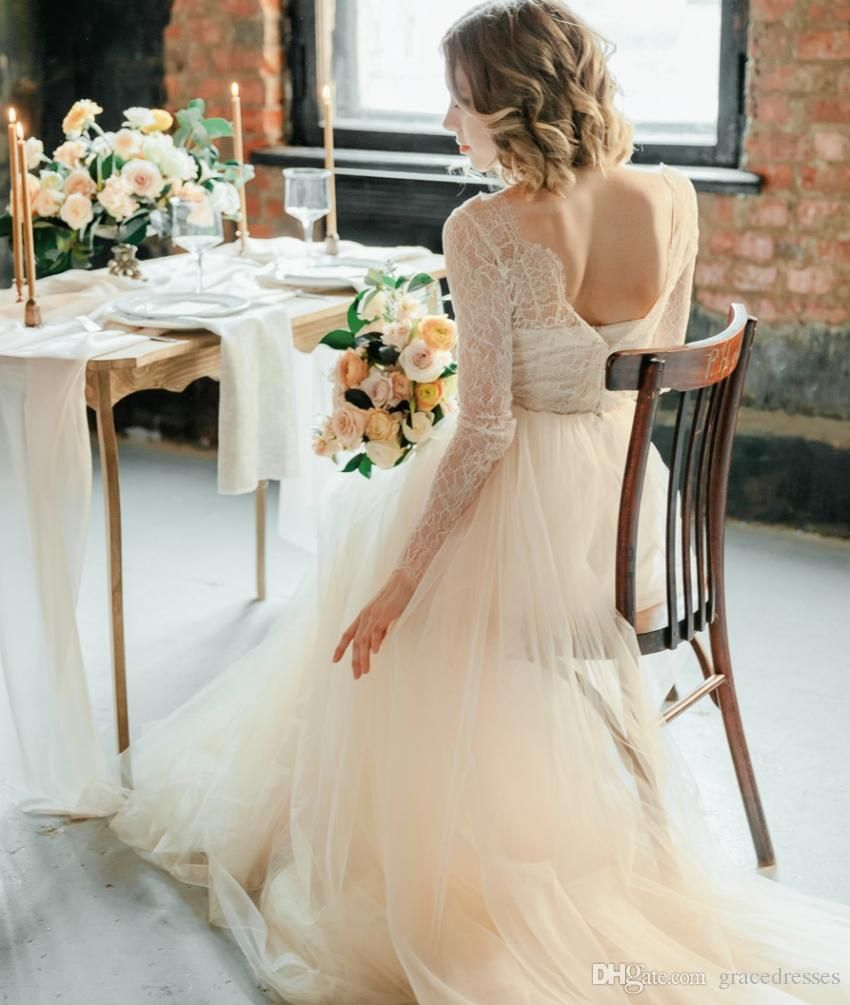 Gorgeous Lace Wedding Dress Long Sleeves Sexy Backless Illusion V ...