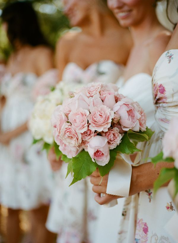 floral printed bridesmaids gowns from bhldn photo by meg smith event planning by kristi