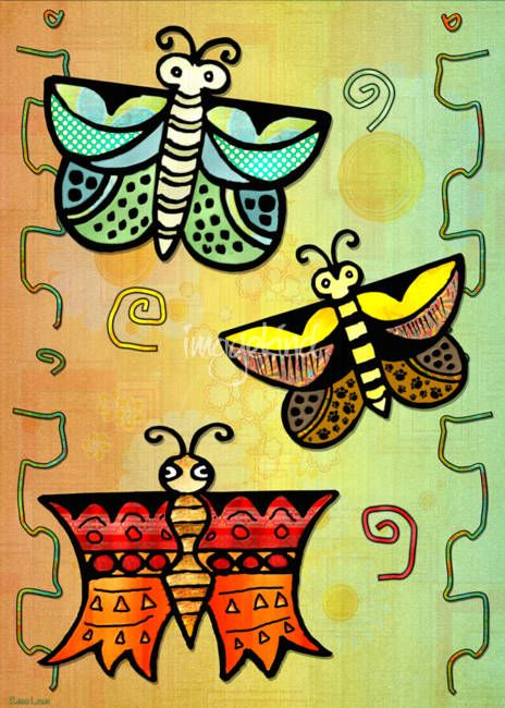 """Zuni POSTERS Butterly Folk Art"" by Renee Lozen, Palm Harbor // Fun Native American folk art made for the gals and kids :) // Imagekind.com -- Buy stunning fine art prints, framed prints and canvas prints directly from independent working artists and photographers."
