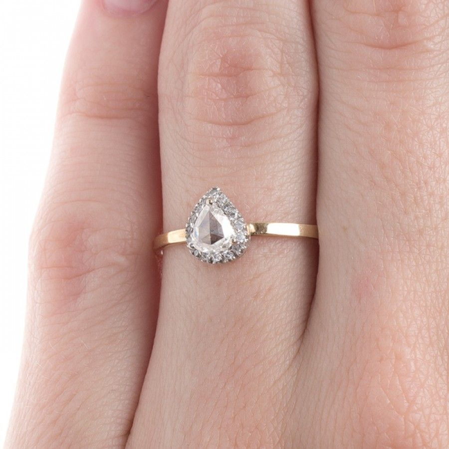Rose Cut Pear Shaped Diamond Ring | Rockport | Adornment | Pinterest ...