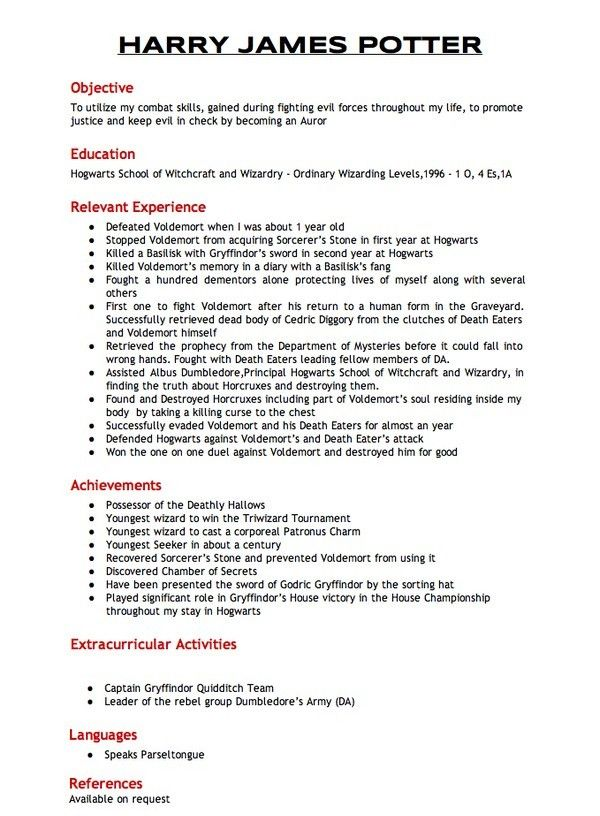 Harry Potter\u0027s Resume for Joining the Aurors Rude Hysteria