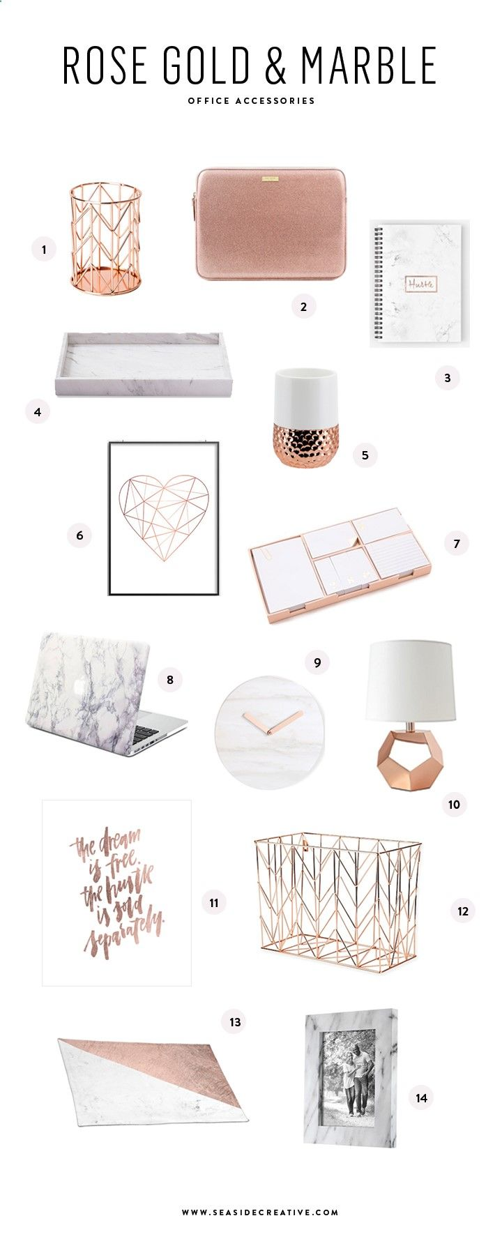 Seaside Creative Blog Beautiful Rose Gold Marble Office Accessories