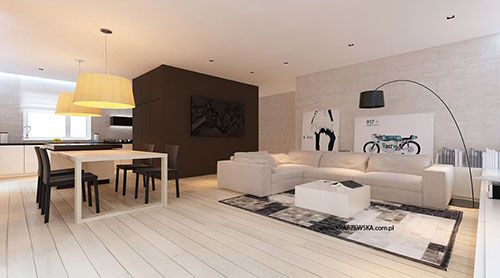 Witte Keuken Beige Vloer : Licht woonkamer ontwerp van Katarzyna Kraszewska