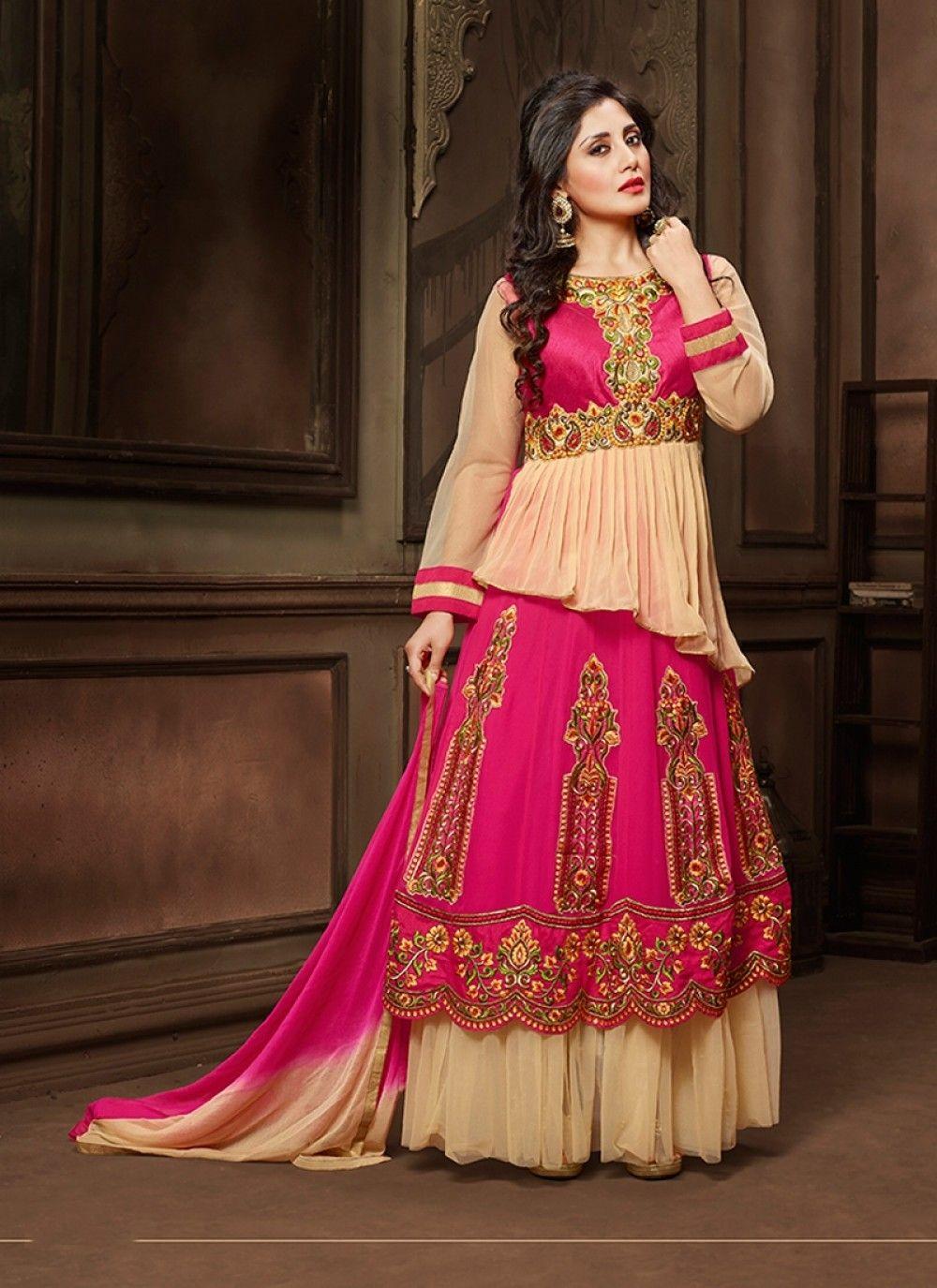 10e115d516 Rimi Sen Hot Pink Patch Border Work Designer Suit - shopneez.com ...
